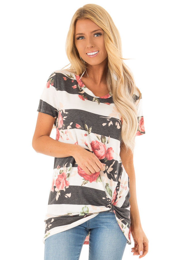 Ivory and Charcoal Striped Floral Top with Front Twist Detail front close up