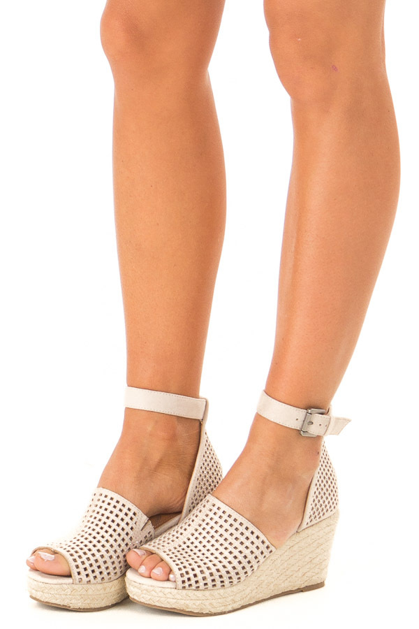 Light Taupe Espadrille Jewel Wedges with Cutouts side view