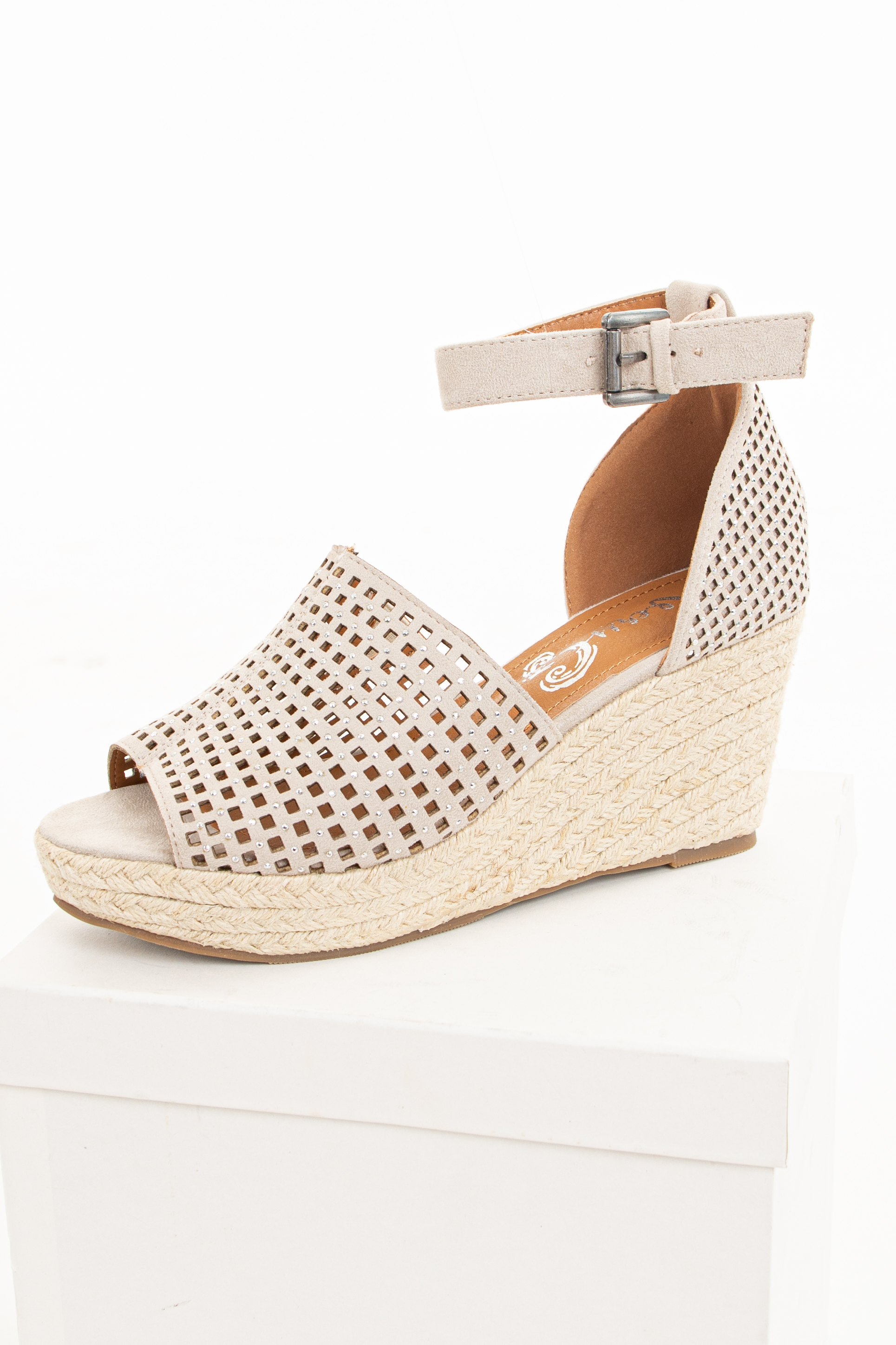Light Taupe Espadrille Jewel Wedges with Cutouts