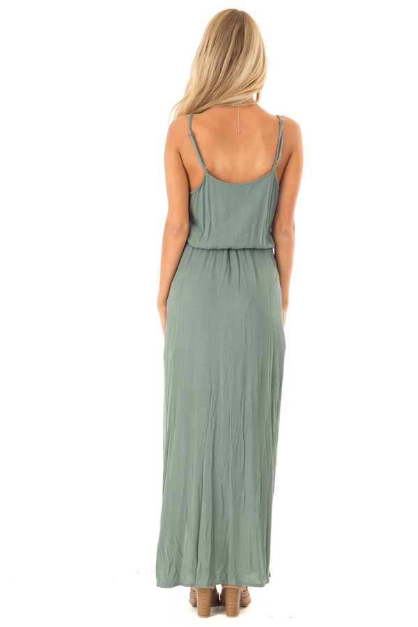 Dark Sage Maxi Dress with Embroidered Detail and Waist Tie back full body