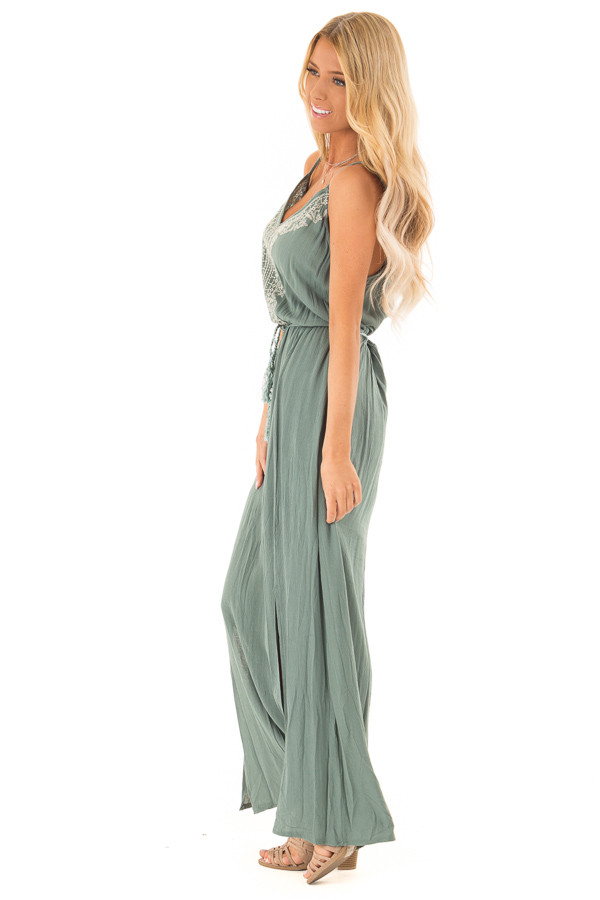 Dark Sage Maxi Dress with Embroidered Detail and Waist Tie side full body