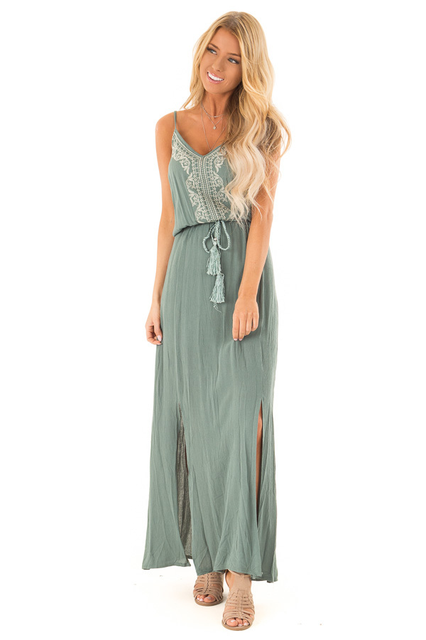 Dark Sage Maxi Dress with Embroidered Detail and Waist Tie front full body
