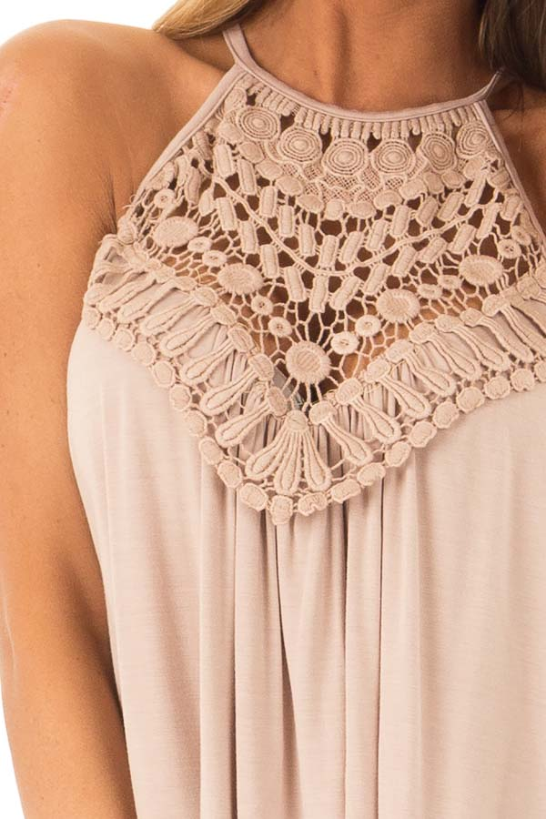 Dusty Mocha Tank Top with Sheer Lace Chest detail