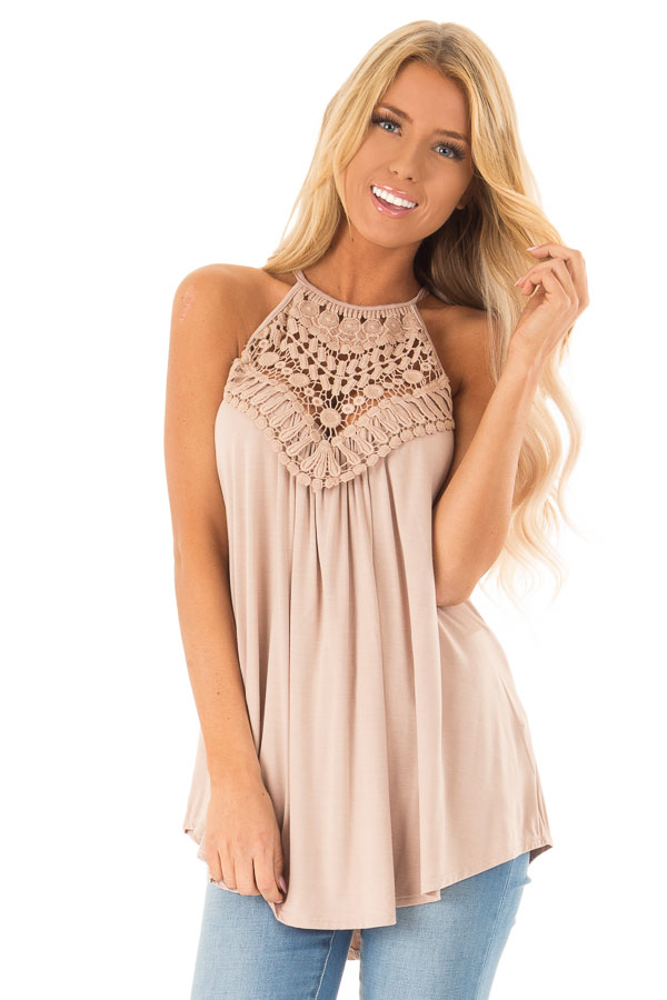Dusty Mocha Tank Top with Sheer Lace Chest front close up