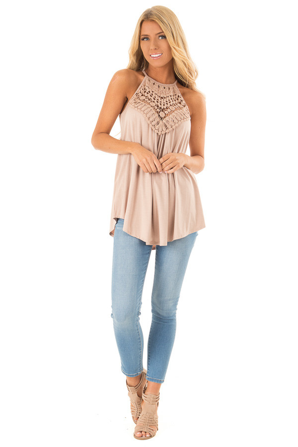 Dusty Mocha Tank Top with Sheer Lace Chest front full body
