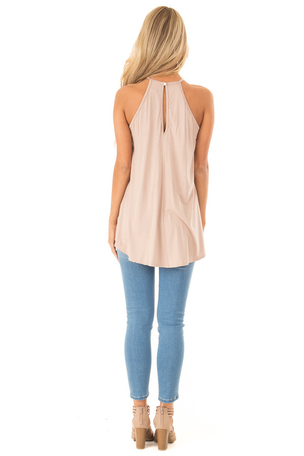 Dusty Mocha Tank Top with Sheer Lace Chest back full body