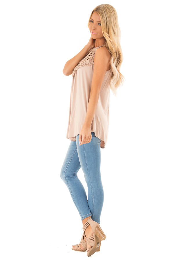 Dusty Mocha Tank Top with Sheer Lace Chest side full body