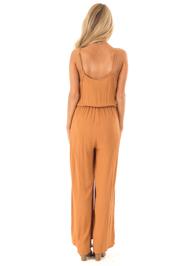Rust Wide Leg Jumpsuit with Embroidered Detail and Leg Slits back full body