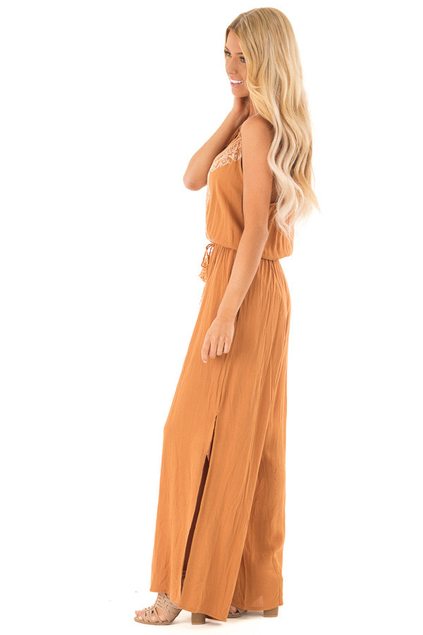 Rust Wide Leg Jumpsuit with Embroidered Detail and Leg Slits side full body