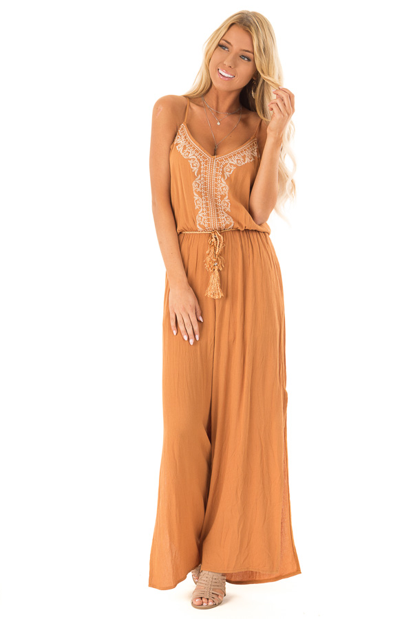 Rust Wide Leg Jumpsuit with Embroidered Detail and Leg Slits front full body