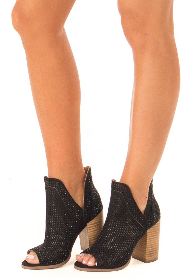 Black Perforated Heeled Bootie with Jewel Detail side view
