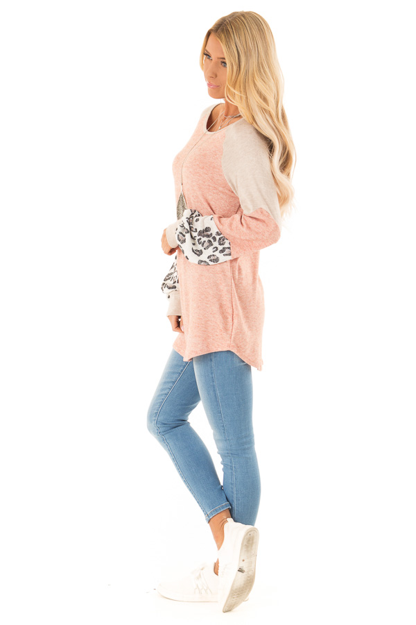 eb47d3f3b7b Light Rust and Leopard Print Long Sleeve Color Block Top - Lime Lush ...