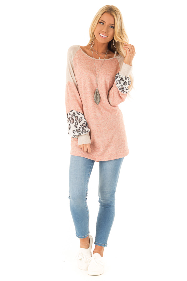 cc410f49dc3 Light Rust and Leopard Print Long Sleeve Color Block Top front full body