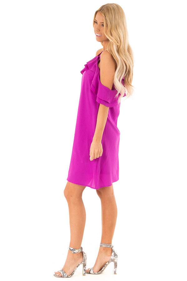 Grape Cold Shoulder Mini Shift Dress with Ruffle Detail side full body