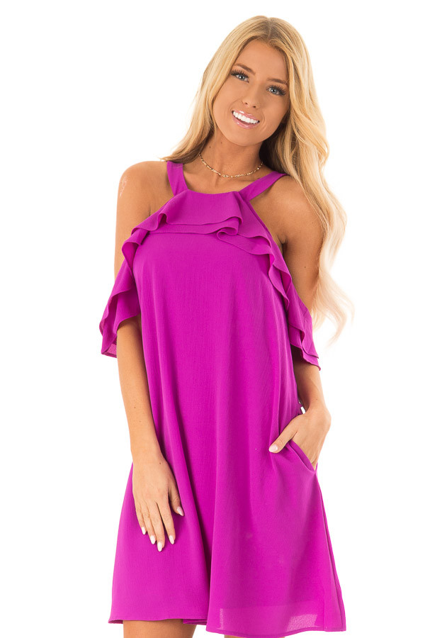 Grape Cold Shoulder Mini Shift Dress with Ruffle Detail front close up