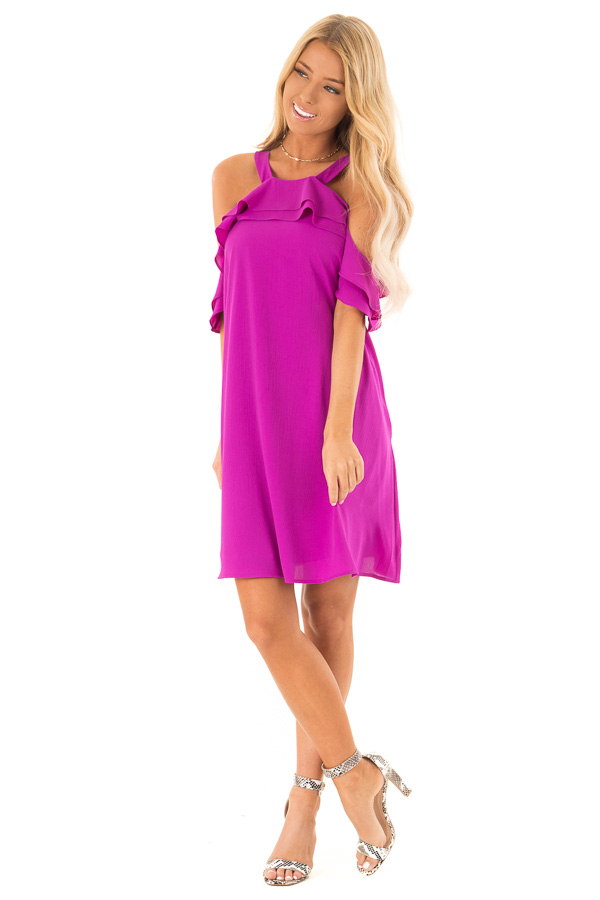 Grape Cold Shoulder Mini Shift Dress with Ruffle Detail front full body
