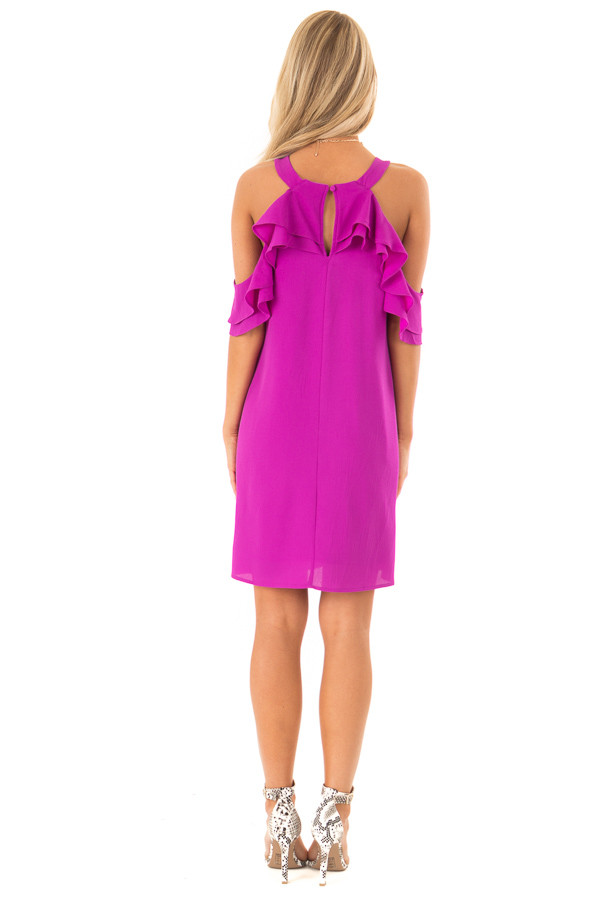 Grape Cold Shoulder Mini Shift Dress with Ruffle Detail back full body