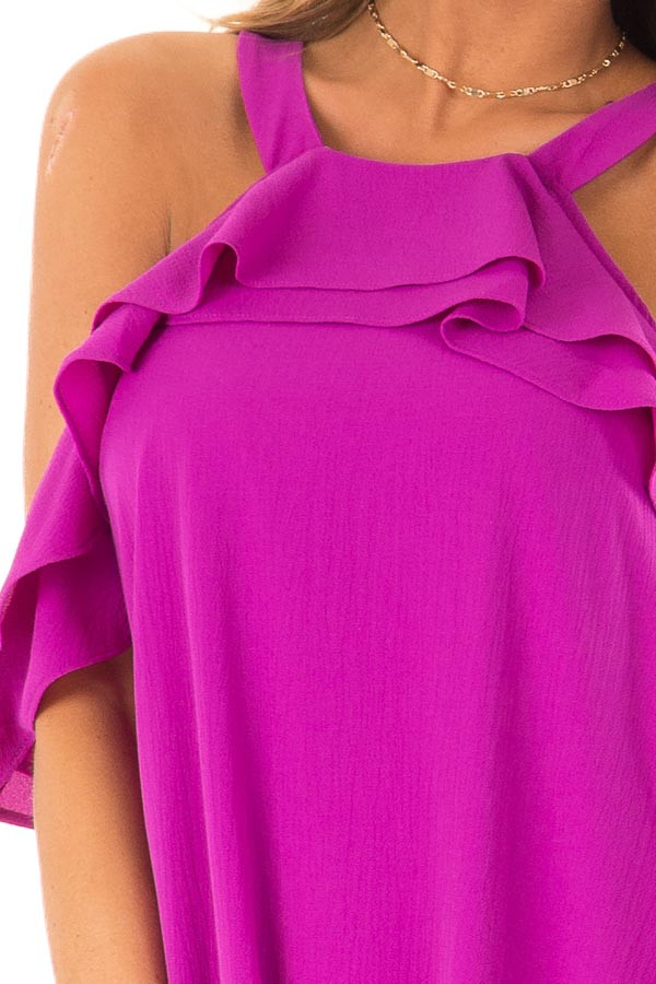 Grape Cold Shoulder Mini Shift Dress with Ruffle Detail detail