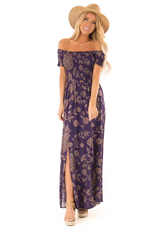 aab01449859 Indigo and Latte Floral Off the Shoulder Smocked Maxi Dress front full body  ...