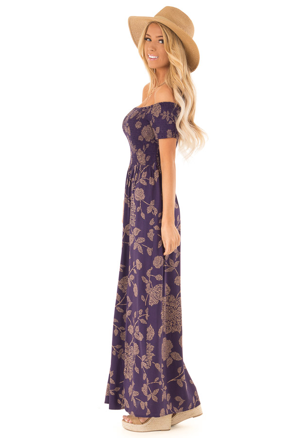 4929e019965 ... front full body · Indigo and Latte Floral Off the Shoulder Smocked Maxi  Dress side full body ...