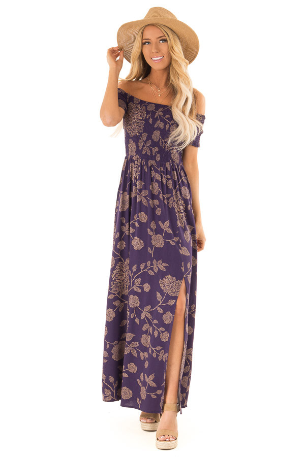 50383e39a19 ... Indigo and Latte Floral Off the Shoulder Smocked Maxi Dress front full  body ...