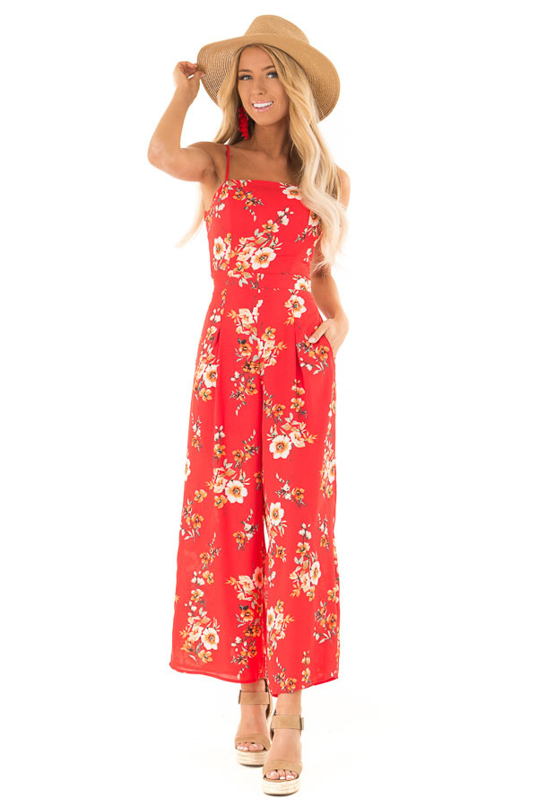 Lipstick Red Floral Spaghetti Strap Jumpsuit with Pockets front full body