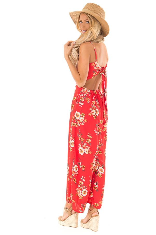 Lipstick Red Floral Spaghetti Strap Jumpsuit with Pockets side full body