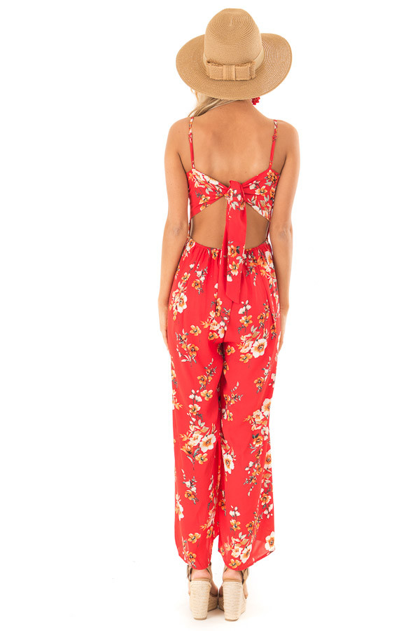 Lipstick Red Floral Spaghetti Strap Jumpsuit with Pockets back full body