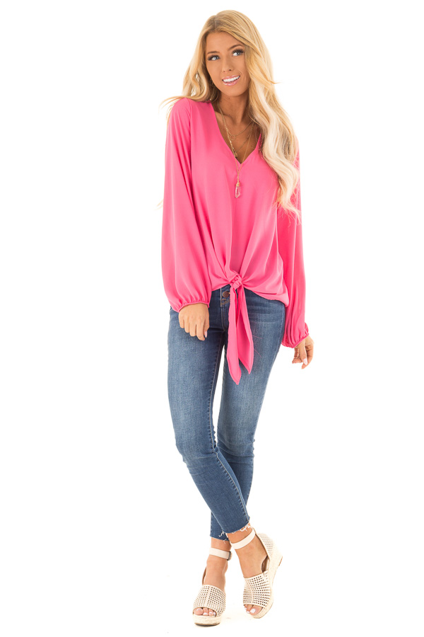 Bubblegum Pink Long Bishop Sleeve Top with Front Tie Detail front full body