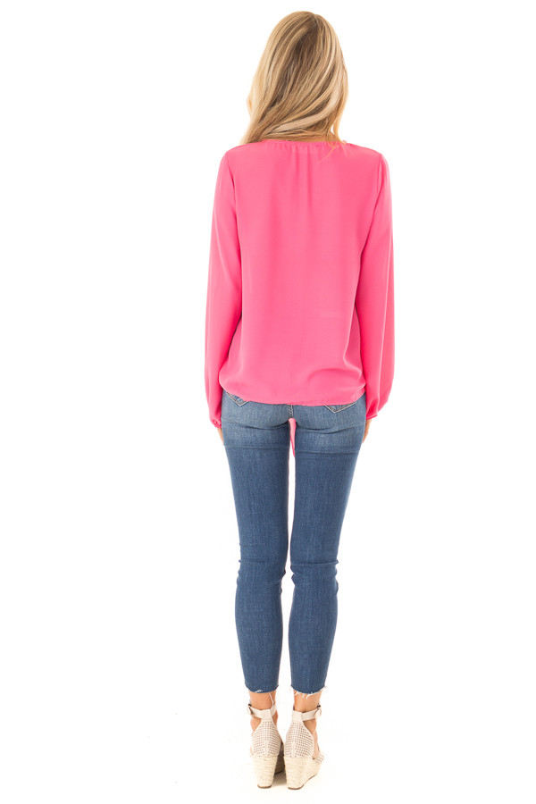 Bubblegum Pink Long Bishop Sleeve Top with Front Tie Detail back full body