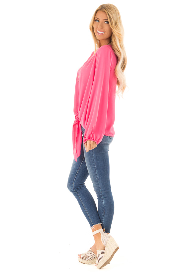 Bubblegum Pink Long Bishop Sleeve Top with Front Tie Detail side full body