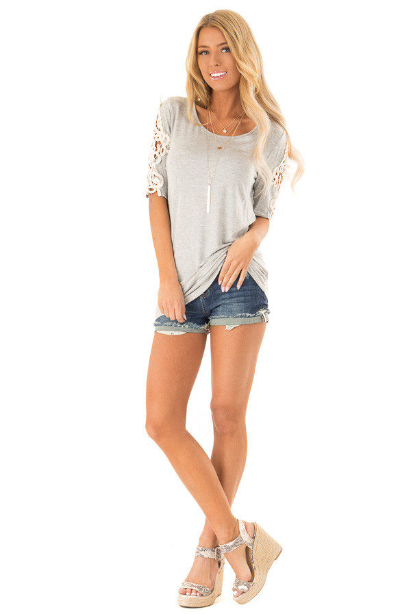Pebble Grey Top with Sheer Lace Sleeve Detail front full body