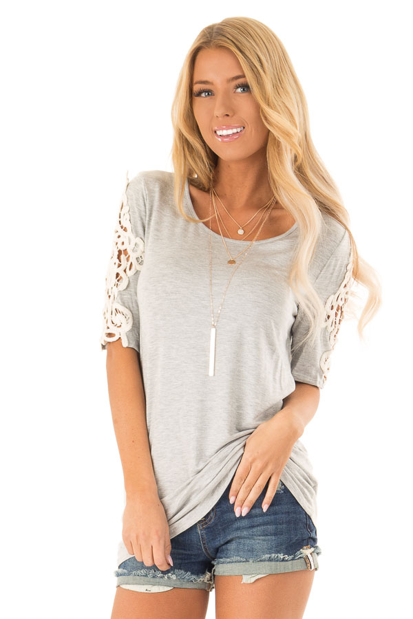 Pebble Grey Top with Sheer Lace Sleeve Detail front close up