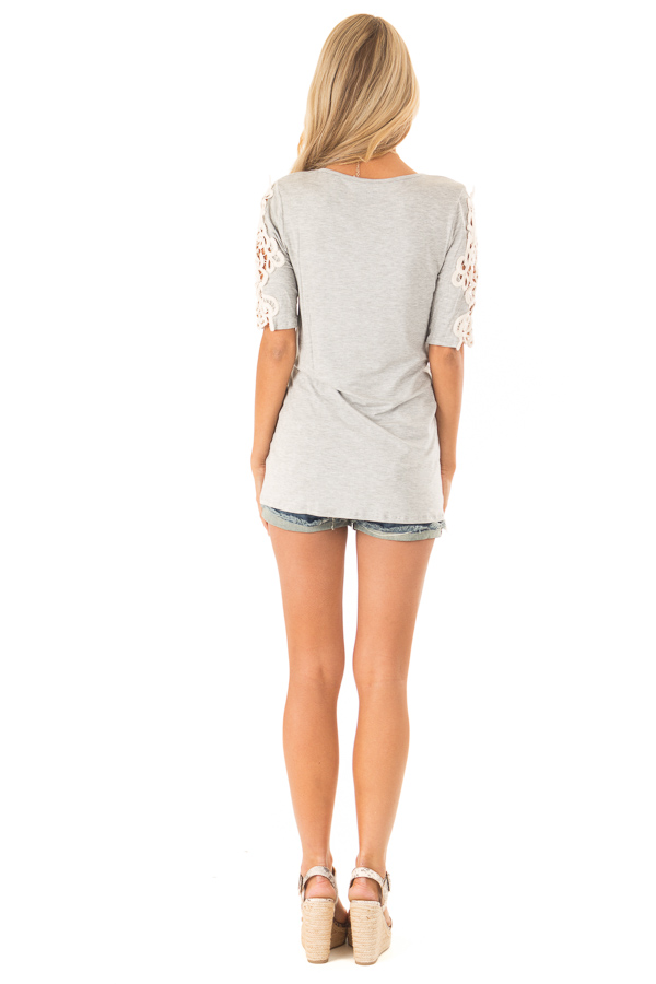 Pebble Grey Top with Sheer Lace Sleeve Detail back full body