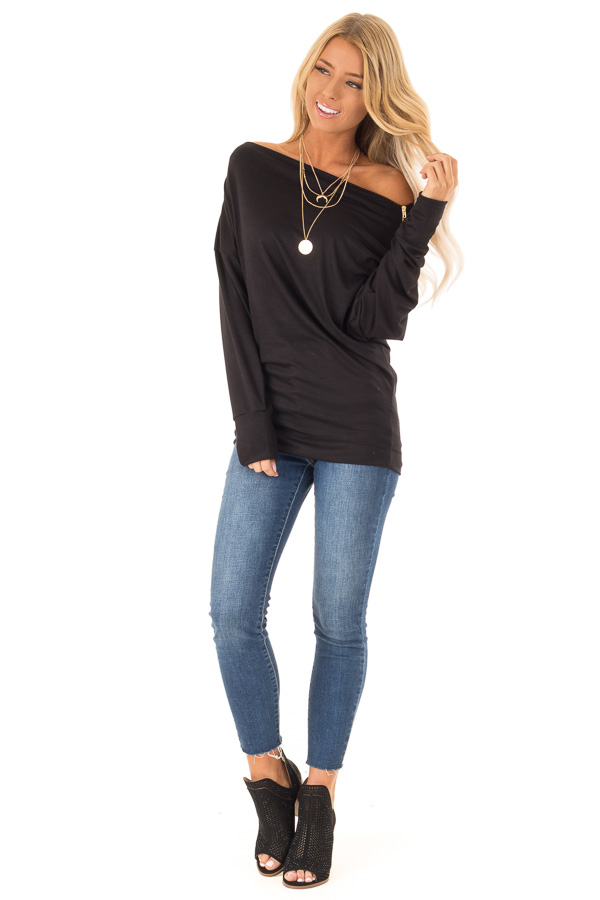 Black Long Dolman Sleeve Top with Zipper Detail on Shoulder front full body