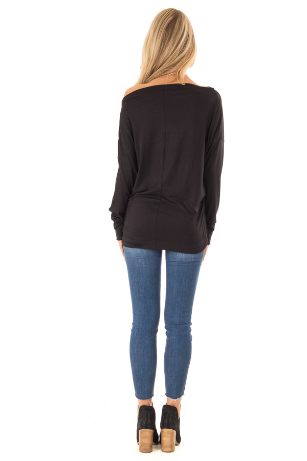 Black Long Dolman Sleeve Top with Zipper Detail on Shoulder back full body