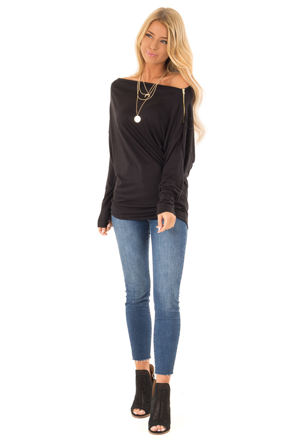 47ecfd67ac4df7 ... Black Long Dolman Sleeve Top with Zipper Detail on Shoulder front full  body ...