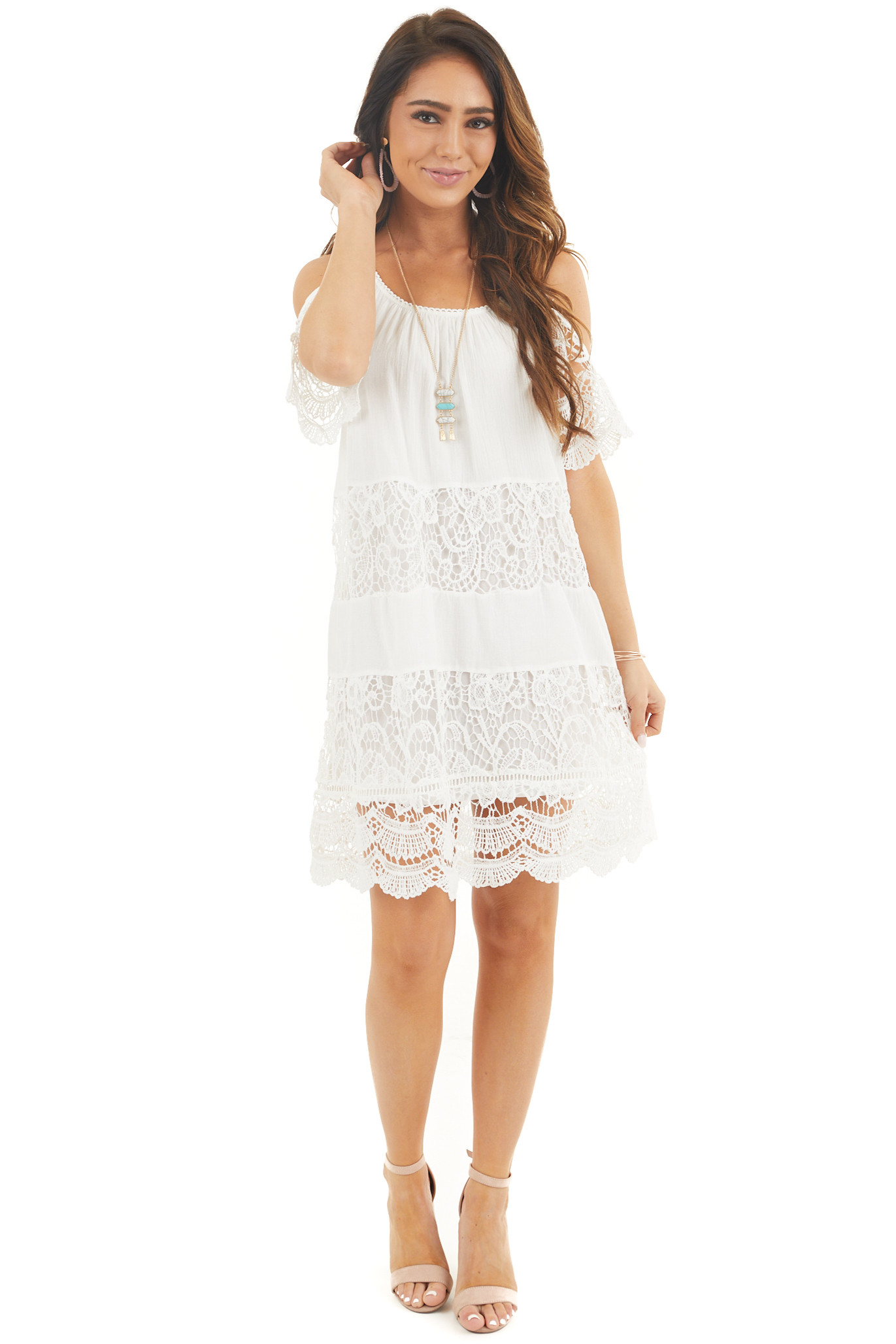 White Off the Shoulder Dress with Lace and Scalloped Hem