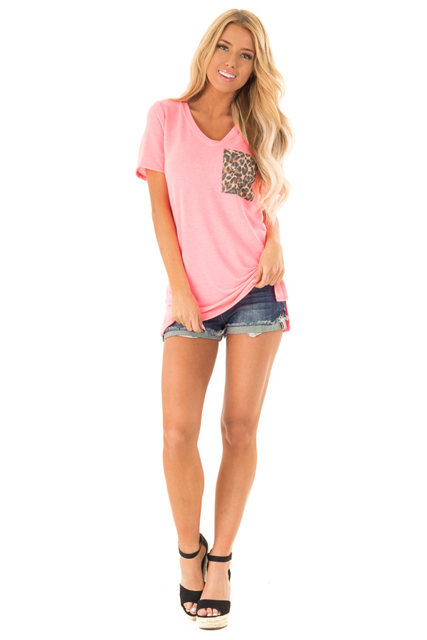 Hot Pink V Neck Short Sleeve Tee with Leopard Print Pocket front full body