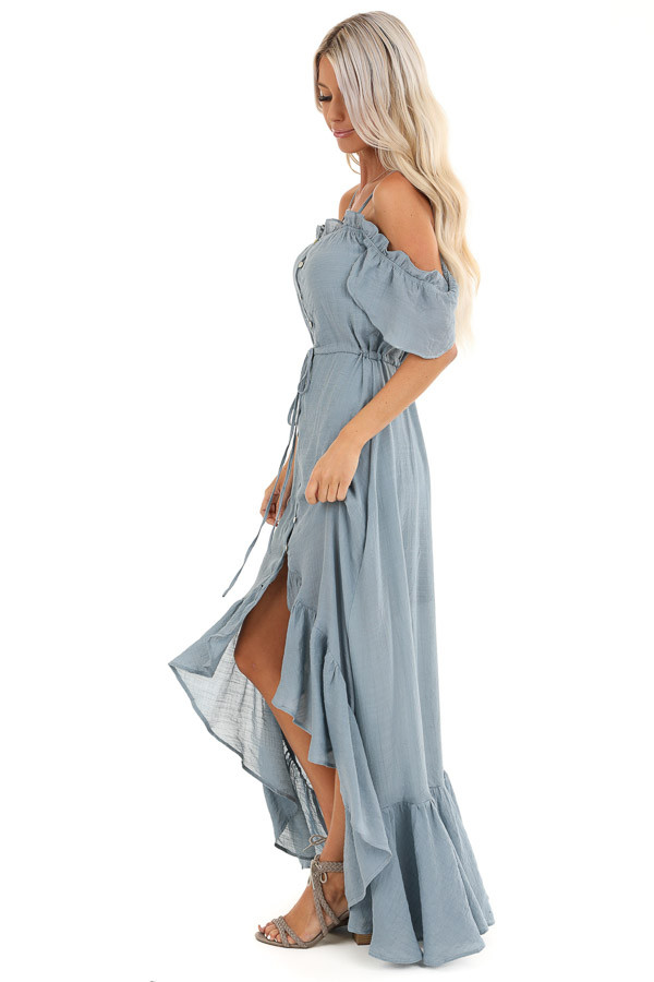 Slate Blue Off the Shoulder High Low Ruffle Maxi Dress side full body