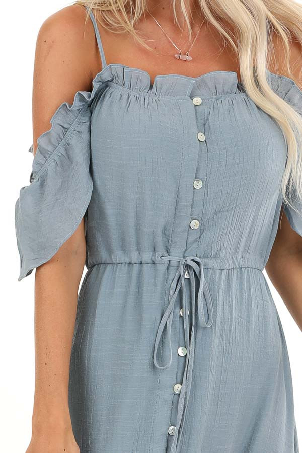 Slate Blue Off the Shoulder High Low Ruffle Maxi Dress detail