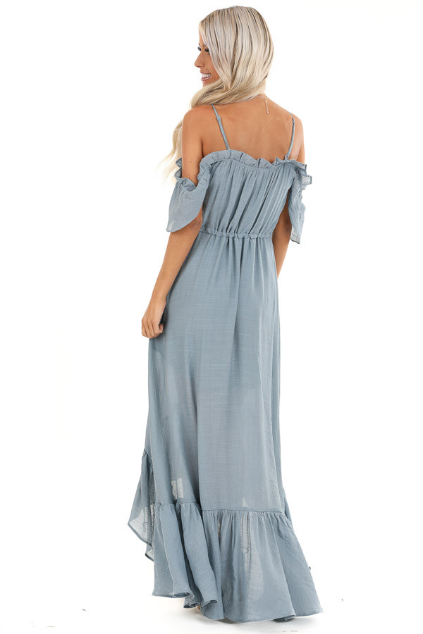 Slate Blue Off the Shoulder High Low Ruffle Maxi Dress back full body