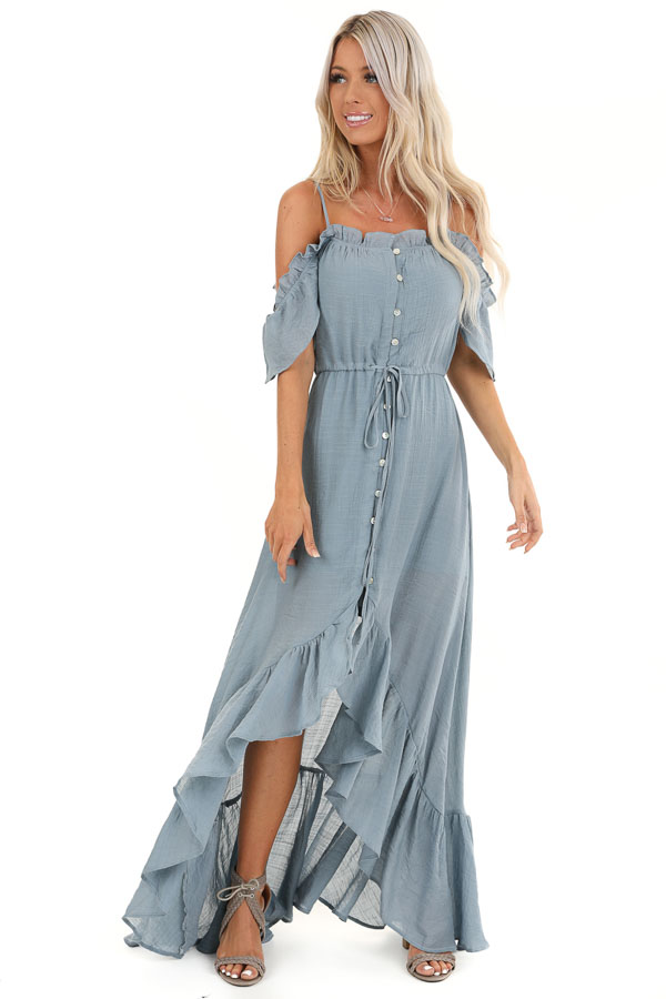 Slate Blue Off the Shoulder High Low Ruffle Maxi Dress front full body