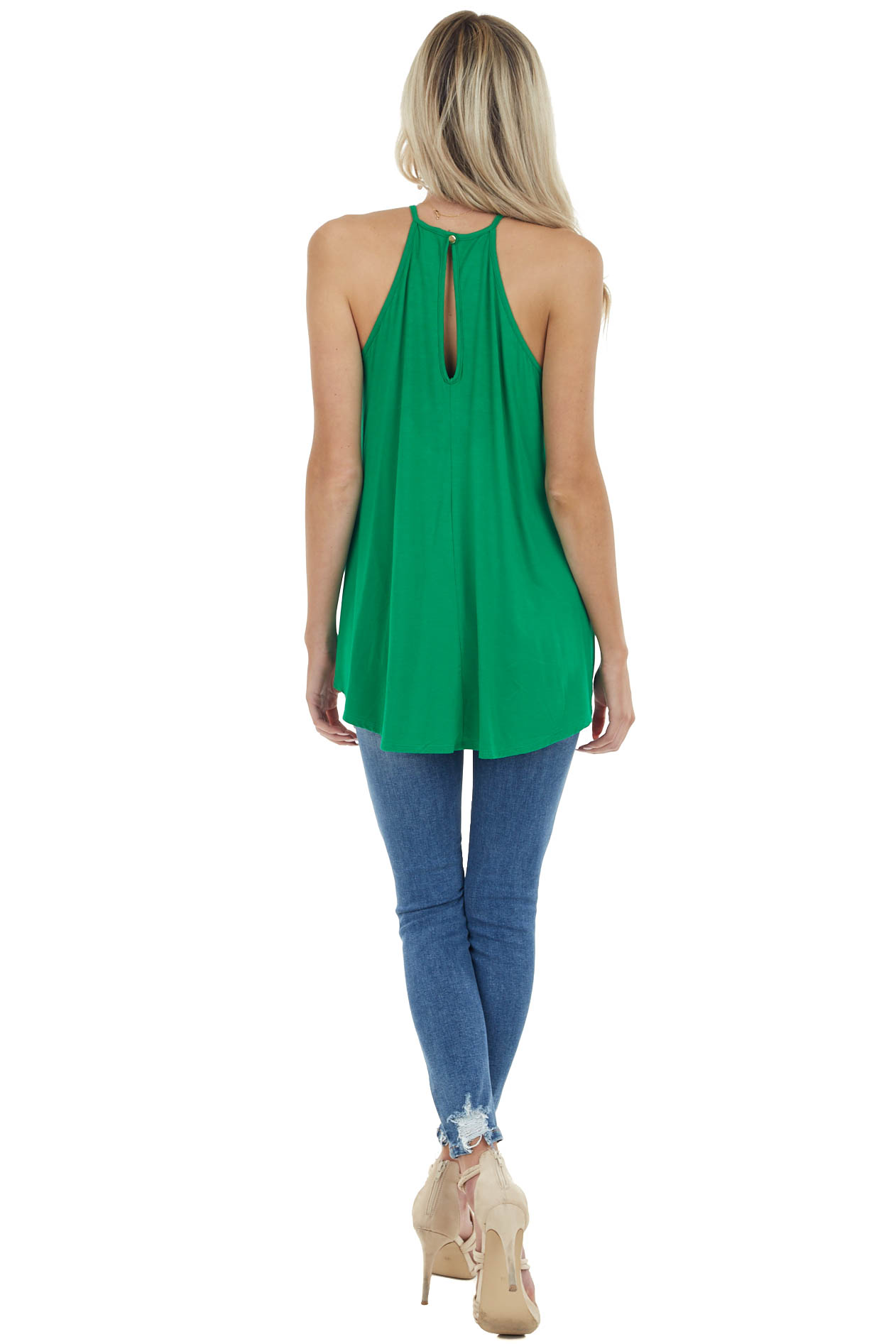 Kelly Green Tank Top with Sheer Lace Chest