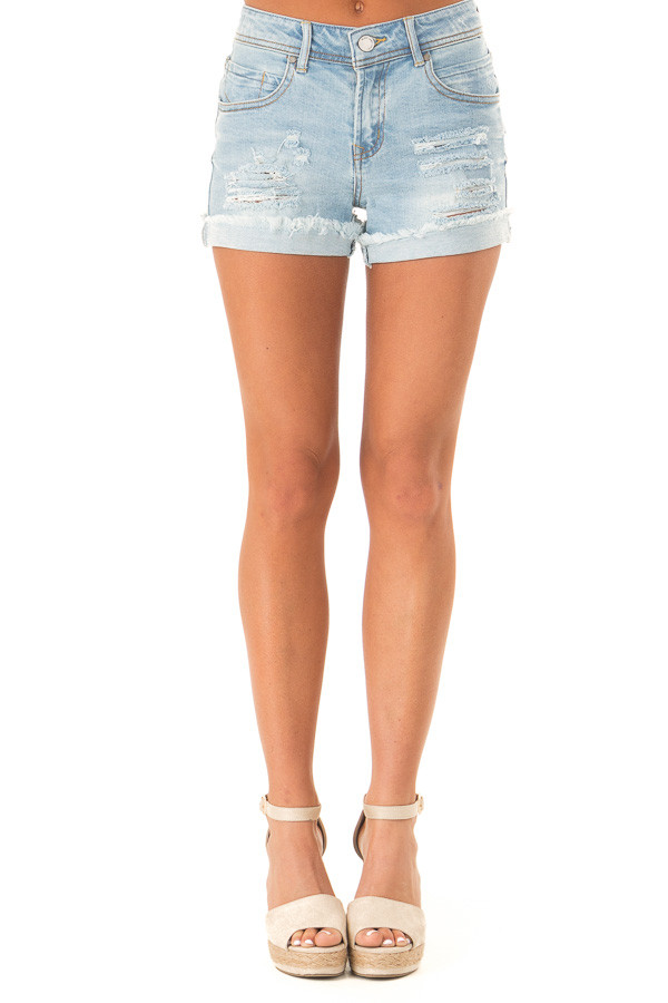 Light Wash Frayed Cuffed Shorts with Distressed Details front view