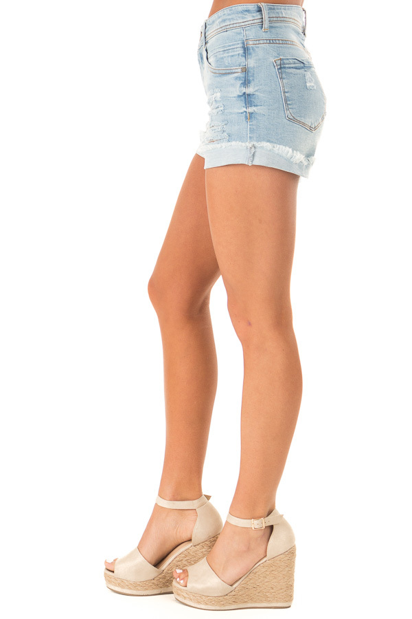 Light Wash Frayed Cuffed Shorts with Distressed Details side view