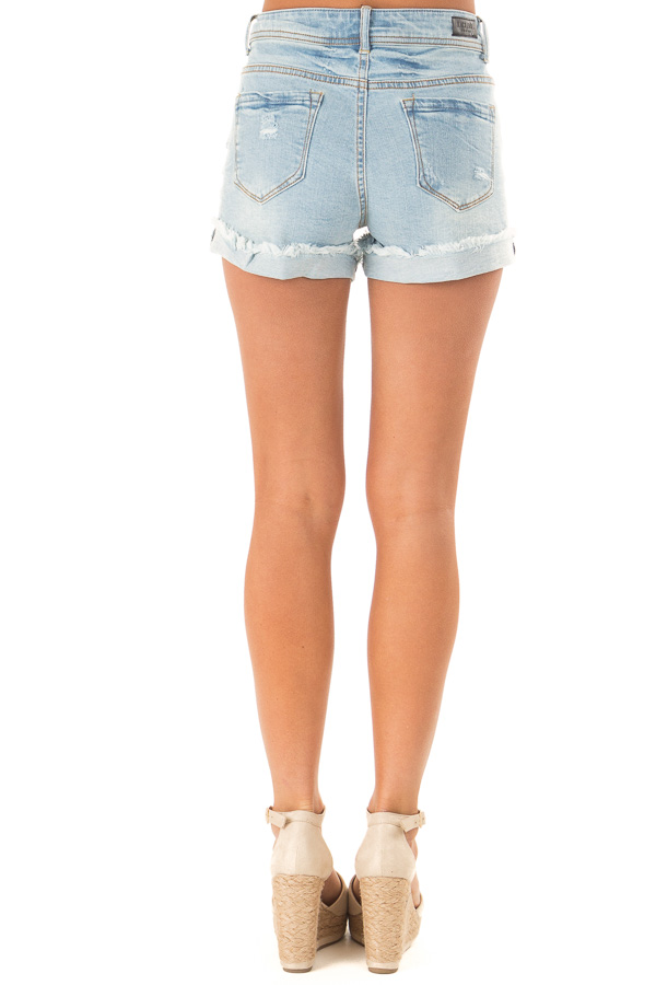 Light Wash Frayed Cuffed Shorts with Distressed Details back view