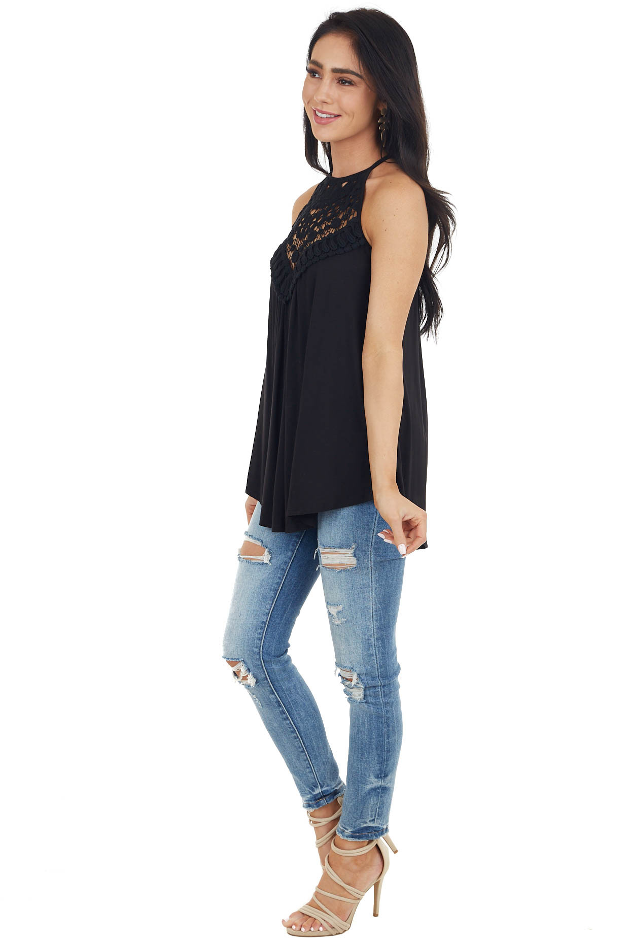 Obsidian Tank Top with Sheer Lace Chest