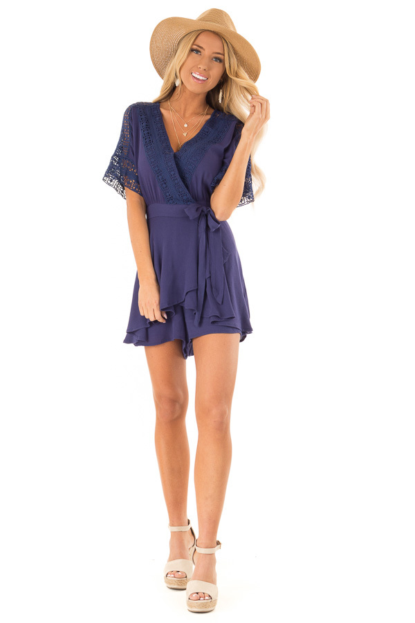 dec0f3e580d ... Navy Wrap Style Romper with Crochet Detail front full body ...