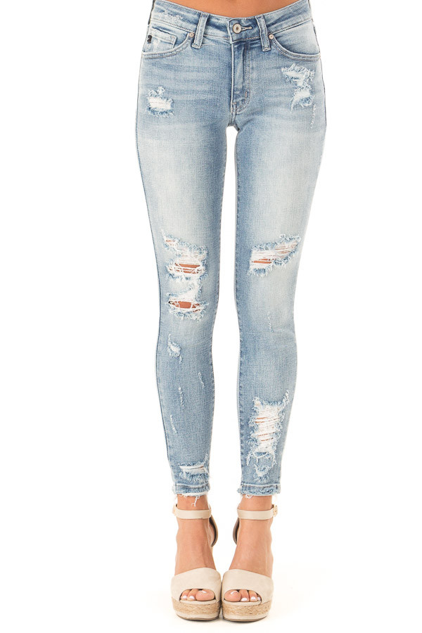 Light Wash Distressed Mid Rise Skinny Jeans front view